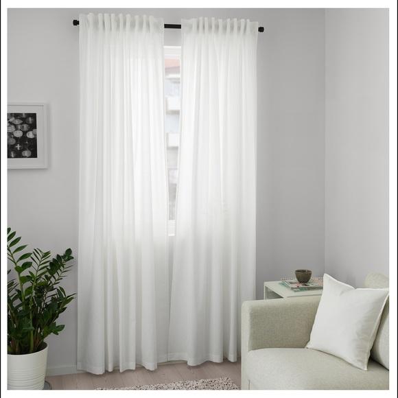 2 set Ikea Lill Sheer Curtains 4 Panels 98 X 110 2 Curtain Pairs, White